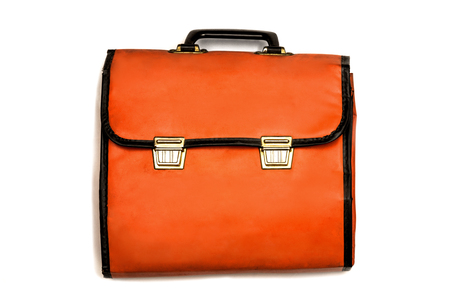 Construction tool DIY: Single vintage orange colored tool case - isolated on white background.