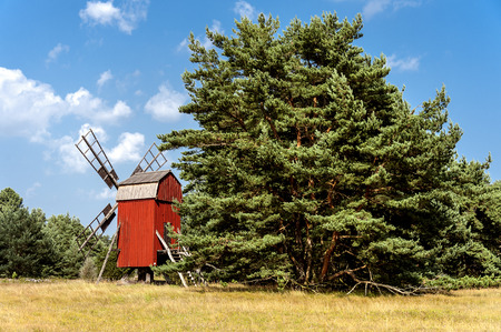 Sweden, Oland: Vintage classic old beautiful traditional red wind mill with big green tree and yellow field on Swedish Baltic Sea island Oland with clear blue sky in the background.