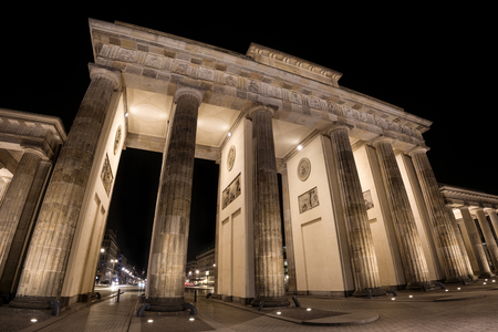Germany, Berlin: Detail of illuminated  Brandenburg Gate (Brandenburger Tor) at night in the middle of the German capital. The 18th-century monument was built by Prussian king Frederick William II.