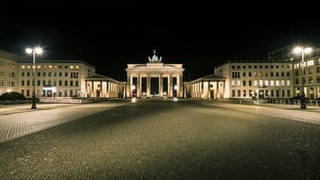 Germany, Berlin, Pariser Platz: Detail of illuminated Brandenburg Gate (Brandenburger Tor) at night in the middle of the German capital. February 07, 2018
