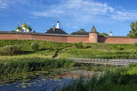 Russia, Vladimir Oblast, Golden Ring, Suzdal: Panorama view with famous old Saviour Monastery of Saint Euthymius, Transfiguration Cathedral, donjon, river Kamenka, in one of the oldest Russian towns.