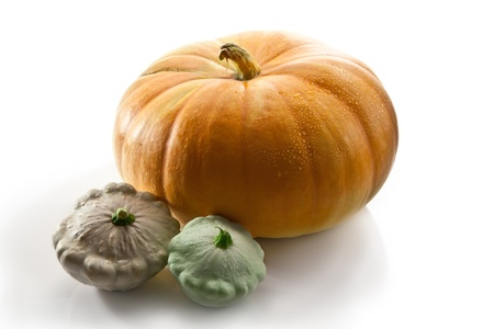 pumpkin and two pattisons Stock Photo - 10494667