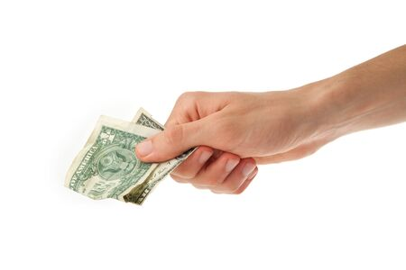 one dollar bill in a hand of young man Stock Photo - 10513010