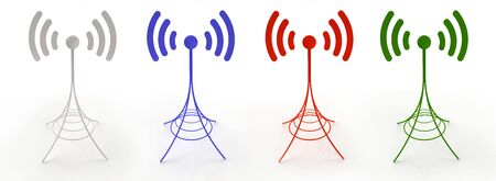 3D created antennas sending wireless signal in different colors Stock Photo