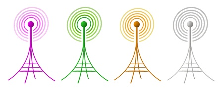 4 different colored antennas sending waves of signal