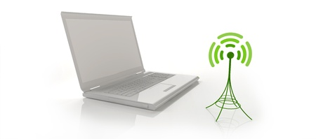 White notebook with wireless signal icon - an antenna photo