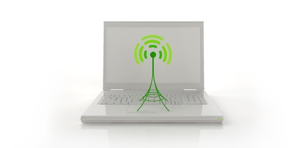 Withe notebook with green little antenna  photo