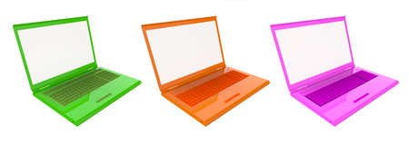 Three colorful laptops isolated on white background photo