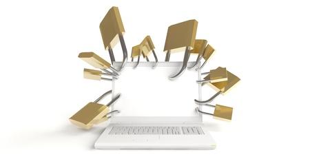 White laptop with many padlocks on white background Stock Photo