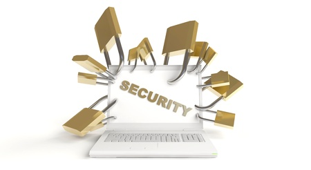 White notebook with security sign and lots of padlocks Stock Photo - 10746820