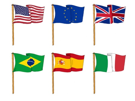 cartoon-like drawings of some of the most popular flags in the world photo