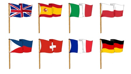 european union flag: cartoon-like dawings of some of the most popular flags in Europe Stock Photo