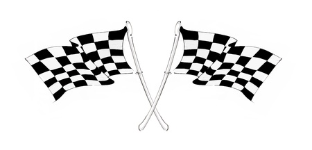 Two crossed checkered racing flags Stock Photo - 10818300