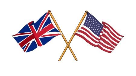 bandera reino unido: Alianza estadounidense y brit�nica y la amistad Foto de archivo