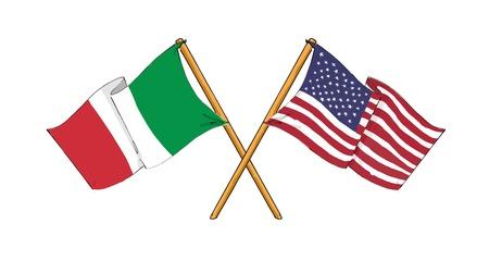 italian flag: Alleanza americana e italiana e di amicizia Archivio Fotografico