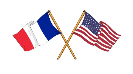 french flag: American and french alliance and friendship Stock Photo