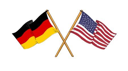 banderas america: Alianza estadounidense y alem�n y la amistad Foto de archivo