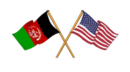 afghanistan flag: American and afghan alliance and friendship