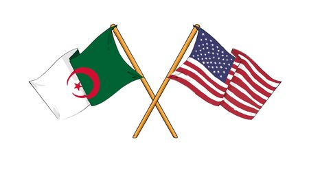 cartoon-like drawings of flags showing friendship between Algeria and USA Stock Photo - 11365192
