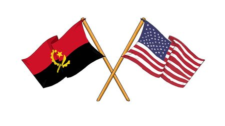 cartoon-like drawings of flags showing friendship between Angola and USA