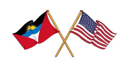 barbuda: cartoon-like drawings of flags showing friendship between Antigua and Barbuda and USA
