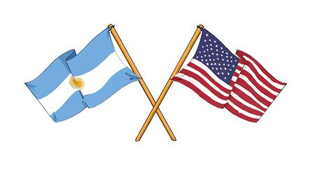cartoon-like drawings of flags showing friendship between Argentina and USA