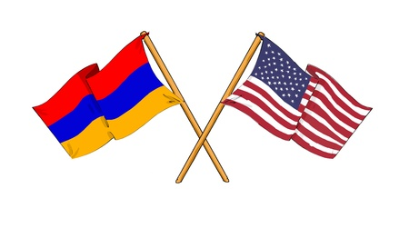 cartoon-like drawings of flags showing friendship between Armenia and USA Stock Photo
