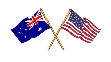 aussie: cartoon-like drawings of flags showing friendship between Australia and USA