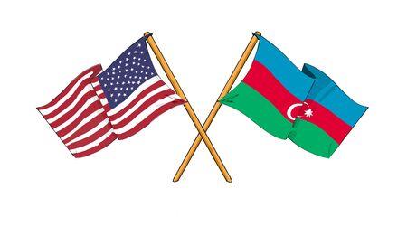 America and Azerbaijan - alliance and friendship Stock Photo