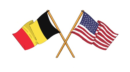 American and Belgian alliance and friendship Stock Photo