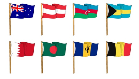 Hand-drawn Flags of the World - letter A and B photo