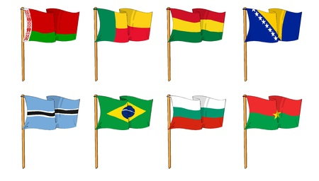 brazilian: Hand-drawn Flags of the World - letter B Stock Photo