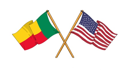 American and Beninese alliance and friendship Stock Photo
