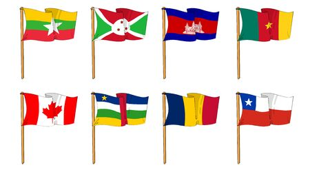 Hand-drawn Flags of the World - letter B and C Stock Photo - 11365229