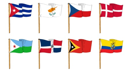 republic of ecuador: Hand-drawn Flags of the World - letter C,D and E