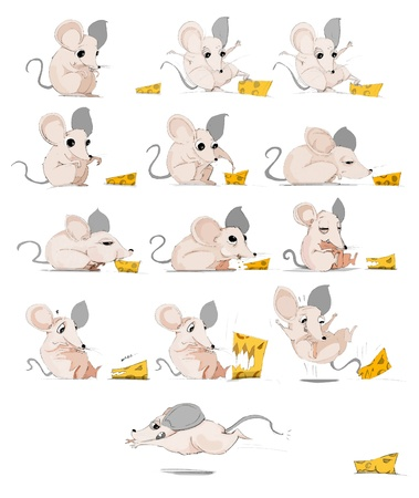 Hand drawn Crazy Mouse eating some angry cheese