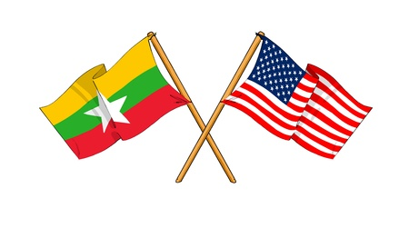 cartoon-like drawings of flags showing friendship between Burma and USA