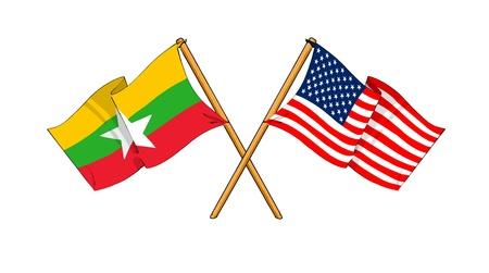 cartoon-like drawings of flags showing friendship between Burma and USA
