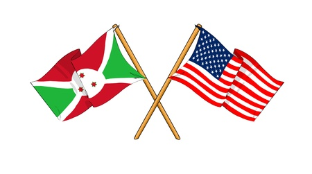 cartoon-like drawings of flags showing friendship between Burundi and USA Stock Photo