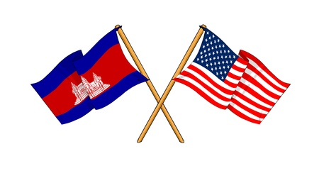 cambodian flag: cartoon-like drawings of flags showing friendship between Cambodia and USA