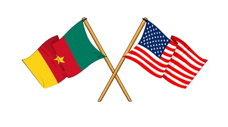 cartoon-like drawings of flags showing friendship between Cameroon and USA