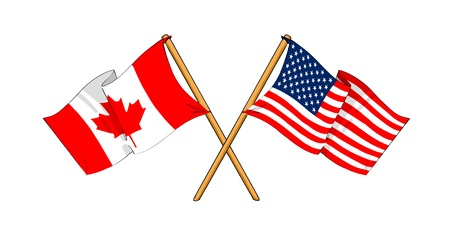 cartoon-like drawings of flags showing friendship between Canada and USA Stock Photo