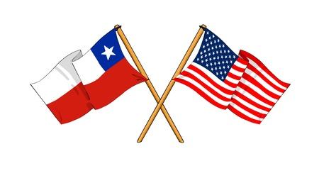 como de dibujos animados dibujos de banderas que muestran la amistad entre Chile y EE.UU. Foto de archivo