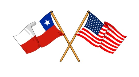bandera chilena: como de dibujos animados dibujos de banderas que muestran la amistad entre Chile y EE.UU. Foto de archivo