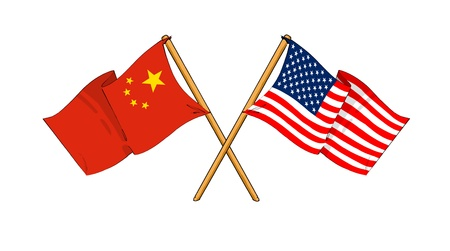 cartoon-like drawings of flags showing friendship between China and USA