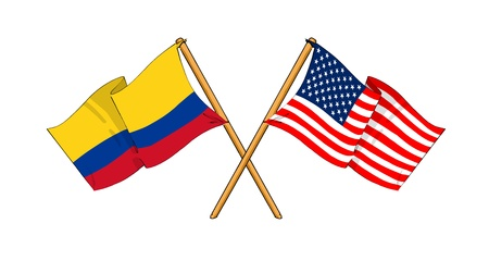 cartoon-like drawings of flags showing friendship between Colombia and USA Stock Photo