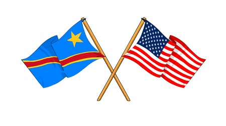 cartoon-like drawings of flags showing friendship between Democratic Republic of the Congo and USA Stock Photo - 12166751