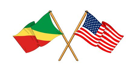 covenant: cartoon-like drawings of flags showing friendship between Republic of the Congo and USA