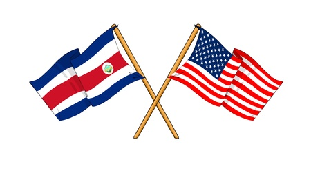 costa rican flag: cartoon-like drawings of flags showing friendship between Costa Rica and USA Stock Photo