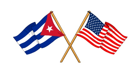 cartoon-like drawings of flags showing friendship between Cuba and USA Stock Photo
